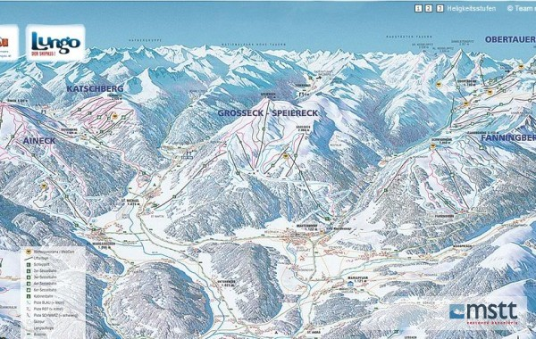 Lungau skii map