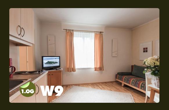 Wohnküche mit Sofabett für 2 Personen