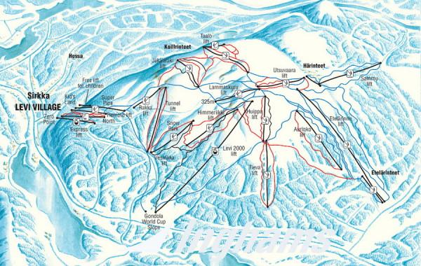 Levi, Fínsko ski map