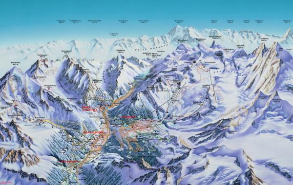 Saas Fee ski map