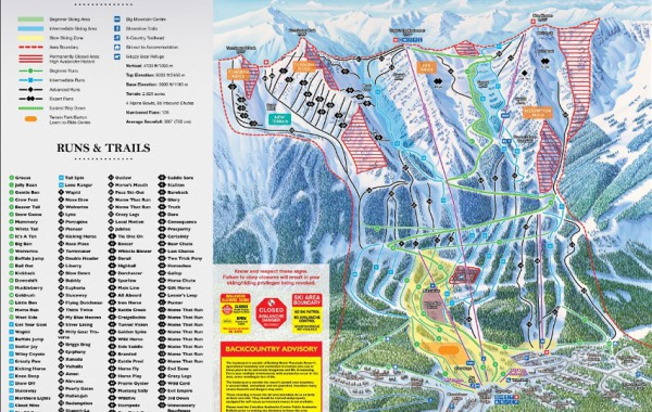 Kicking horse ski map, Kanada