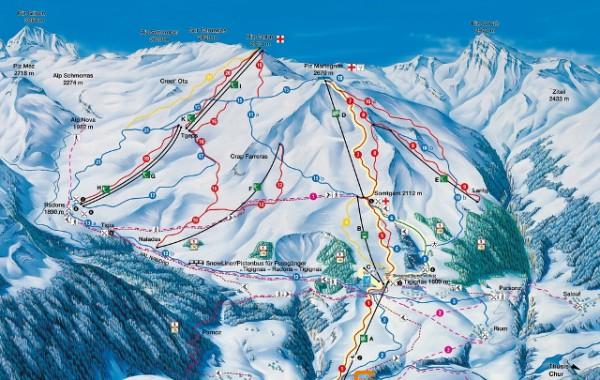 Savognin ski map