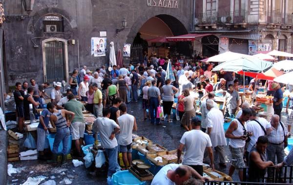 Sicília, Taliansko - Catania rybí trh