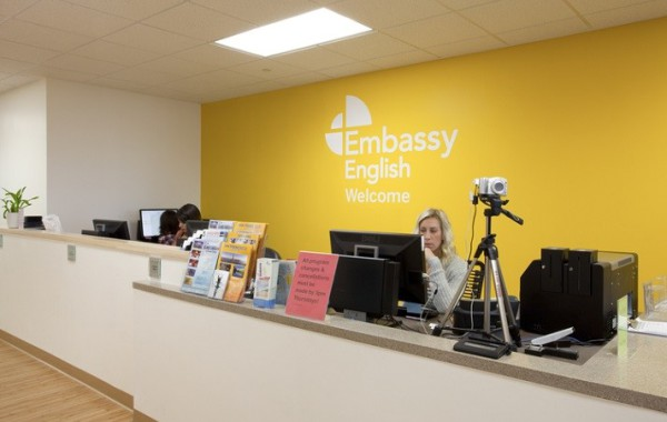 The reception area at the Embassy San Diego school.