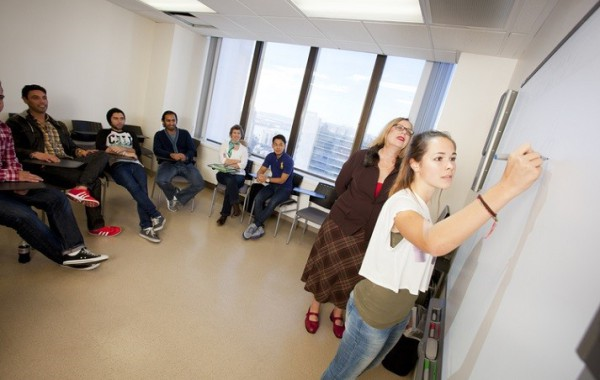 Embassy San Diego students in the classroom at the school.