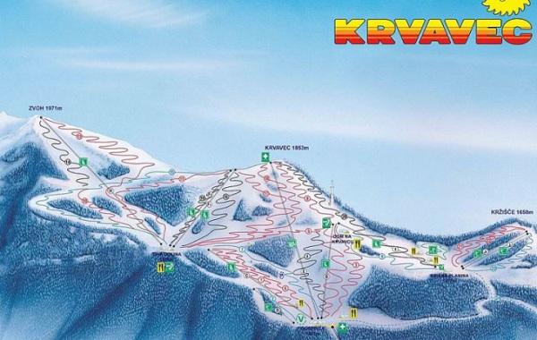 Ski mapa Krvavec, Lyžovačka v Slovinsku s CK m.s.t.t.