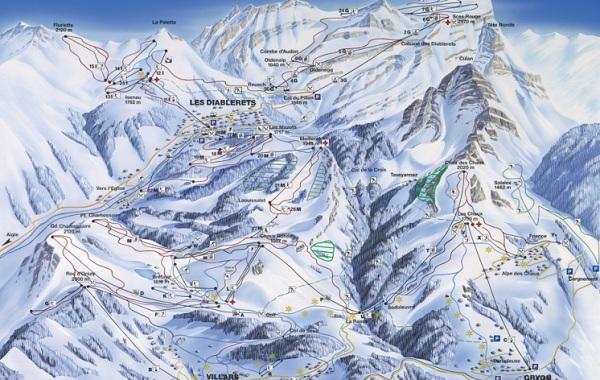 Les Diablerets - Villars - Gryon ski mapa