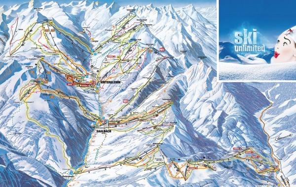 Sallbach-Hinterglem-Leogang skimapa