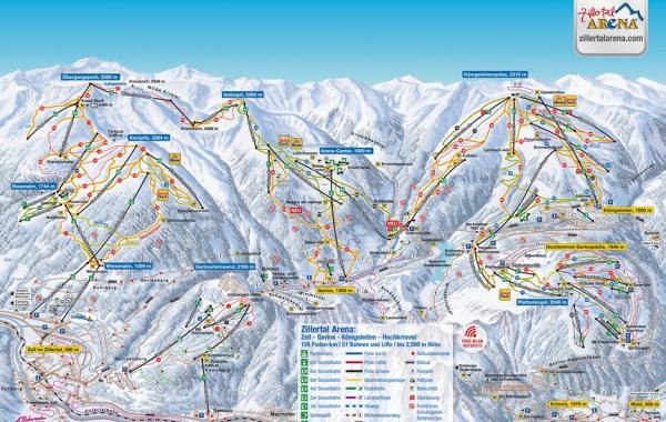 Zillertal Arena ski mapa, lyžovačka v Rakúsku s CK m.s.t.t.