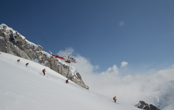 Helicopter and Skiers, Bugaboos, Brad White