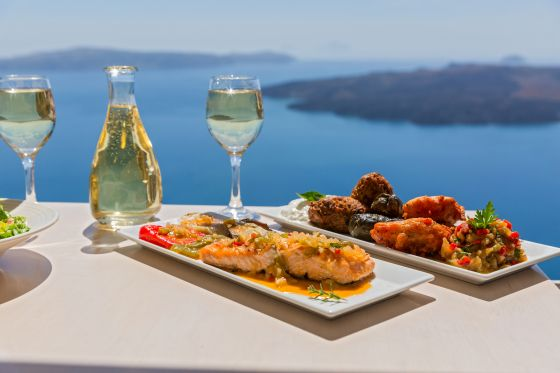 Lunch by the sea, Greece, island  Santorini