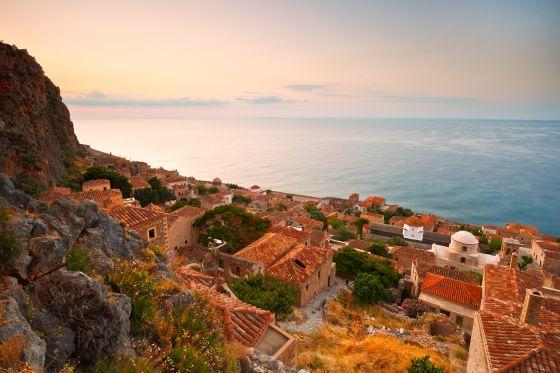 Monemvasia village in Peloponnese, Greece.