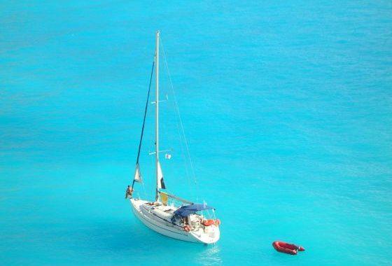 A yacht sailing in the porto katsiki beach in Lefkada-Greece (Ionian sea).